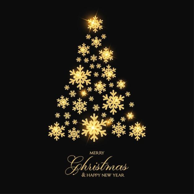 Elegante vrolijke kerstmis met gouden sneeuwvlokboom Gratis Vector