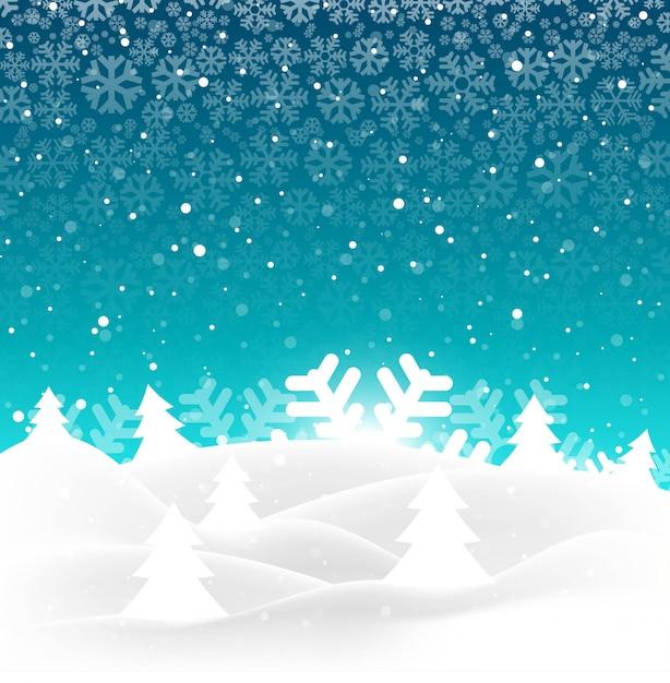 Elegante vrolijke kerstmisboom met sneeuwvlokachtergrond Gratis Vector