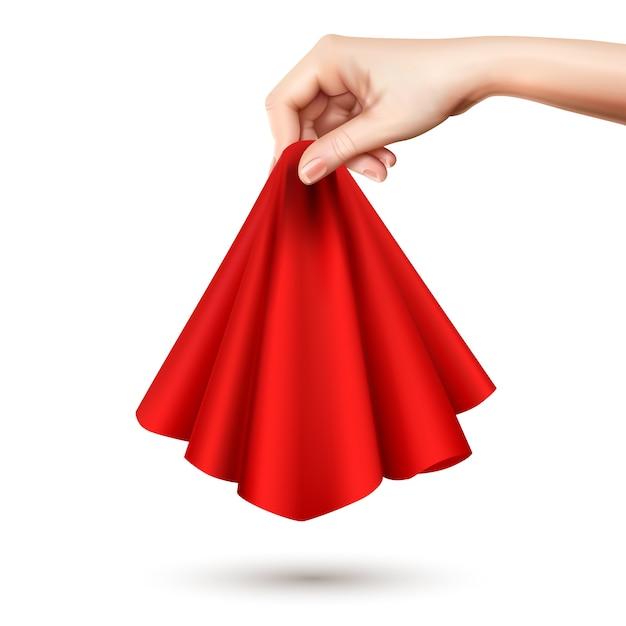 Elegante vrouwelijke hand die rode zijde rond gedrapeerde zijdedoek opheft die het centrum realistisch beeld houdt Gratis Vector