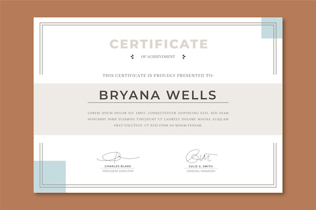Elegante waardering certificaatsjabloon Gratis Vector