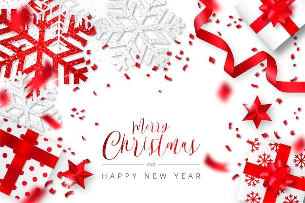 Elegante witte en rode realistische kerstmisachtergrond Gratis Vector