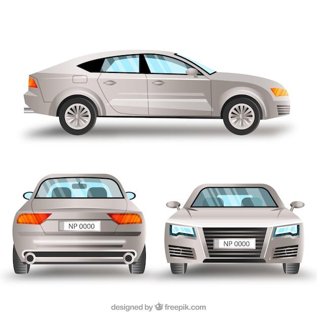 Elegante zilveren auto in verschillende uitzichten Premium Vector