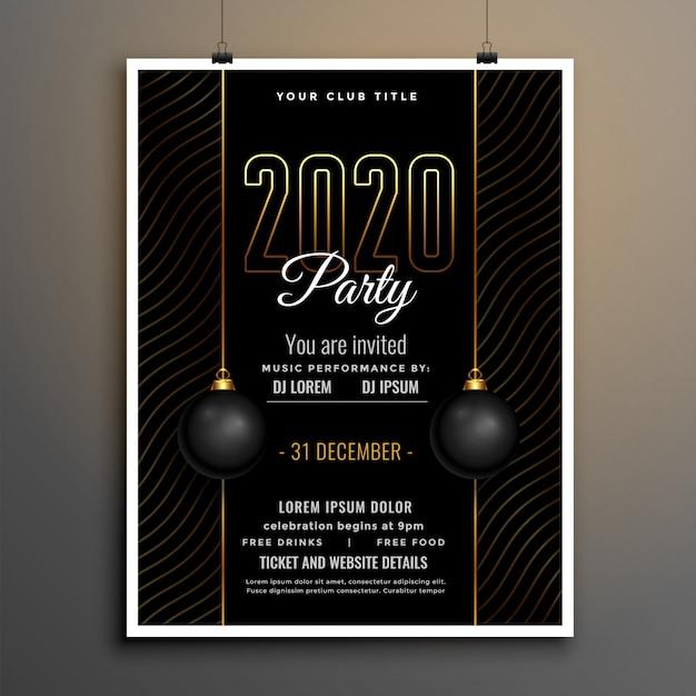 Elegante zwart en goud nieuwjaarsjabloon folder voor de partij Gratis Vector