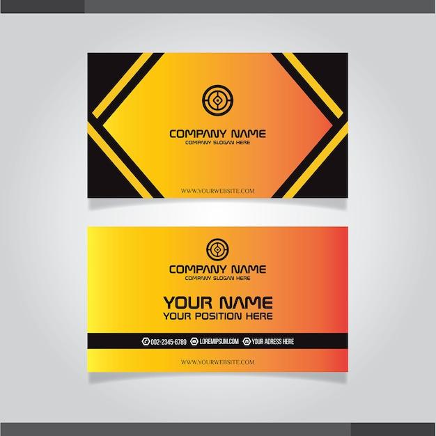 Elegante zwart en oranje visitekaartjesjabloon Premium Vector