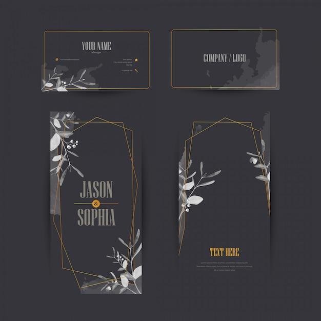 Elegante zwarte en gouden aquarel banner set Premium Vector