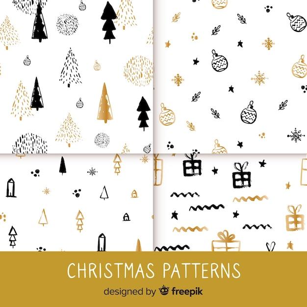 Elegante zwarte en gouden kerst patroon collectie Gratis Vector