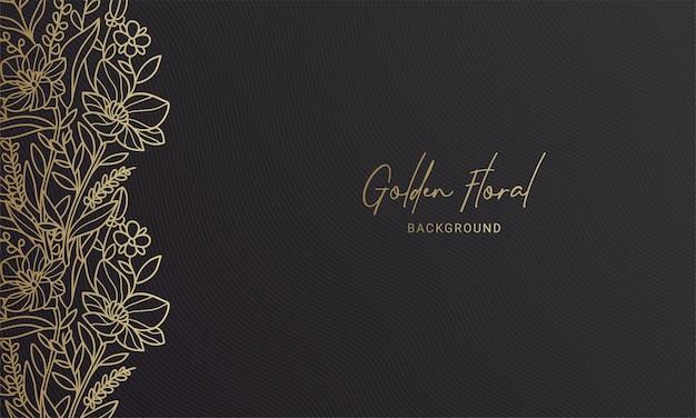 Elegante zwarte en gouden linkerzijde bloemenplant blad handgetekende illustratie Premium Vector