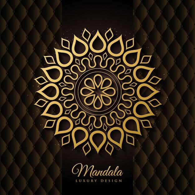 Elegante zwarte en gouden mandala achtergrond vector Premium Vector