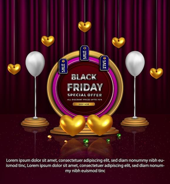 Elegante zwarte vrijdag speciale aanbieding liefde gouden banner Gratis Vector