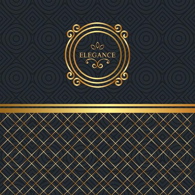 Elegantie stijl gouden frame Gratis Vector