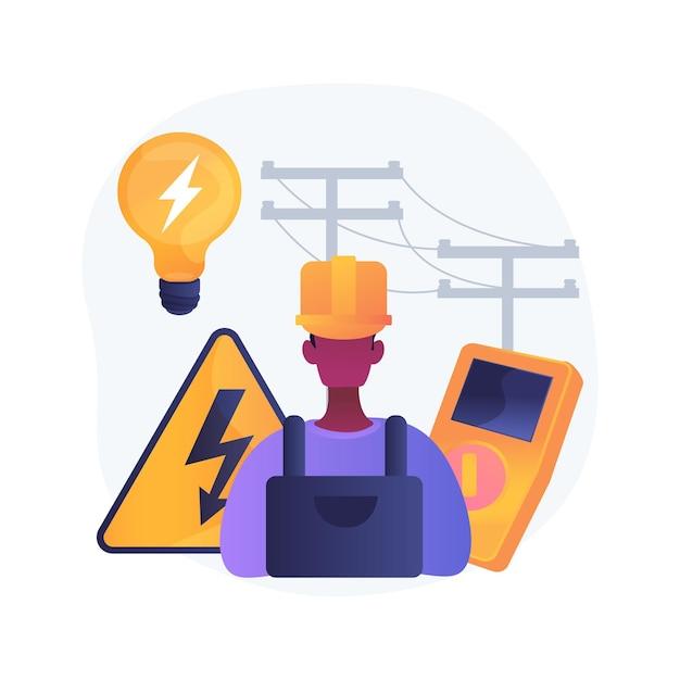 Elektricien diensten abstract concept illustratie. energiezuinige verlichting, onderhoud en inspectie van elektrische systemen, domotica, reparatie van elektrische kachels Gratis Vector