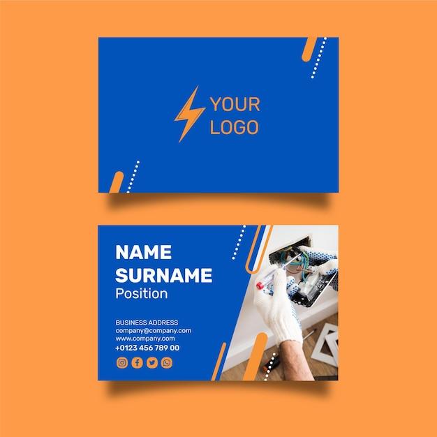 Elektricien dubbelzijdig visitekaartje ontwerp Premium Vector