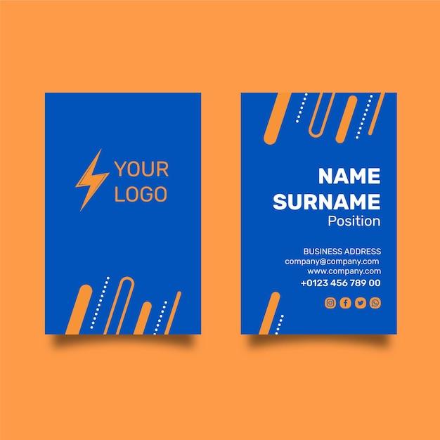 Elektricien dubbelzijdig visitekaartje Premium Vector
