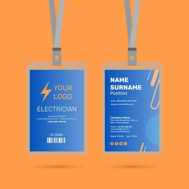 Elektricien identiteitskaart ontwerp Premium Vector