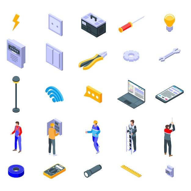 Elektricien service iconen set, isometrische stijl Premium Vector