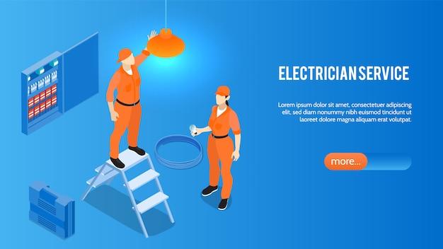 Elektricien service online isometrische website homepage banner met elektrische huishoudelijke apparaten installatie reparatie onderhoud Gratis Vector