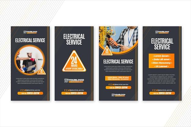 Elektricien verhalen sjabloon Premium Vector