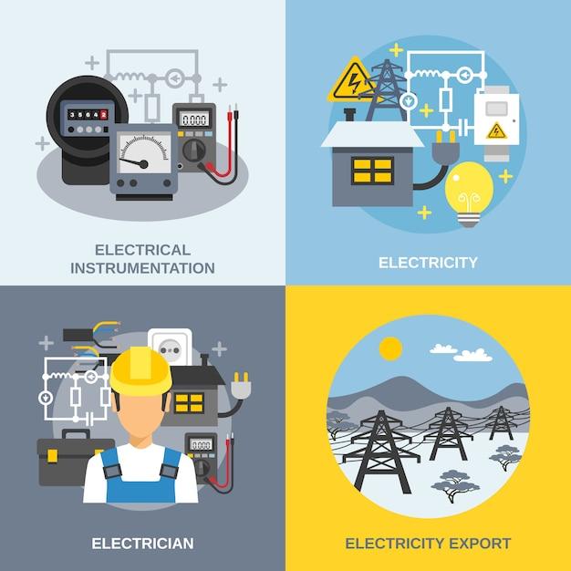 Elektriciteit concept set Gratis Vector