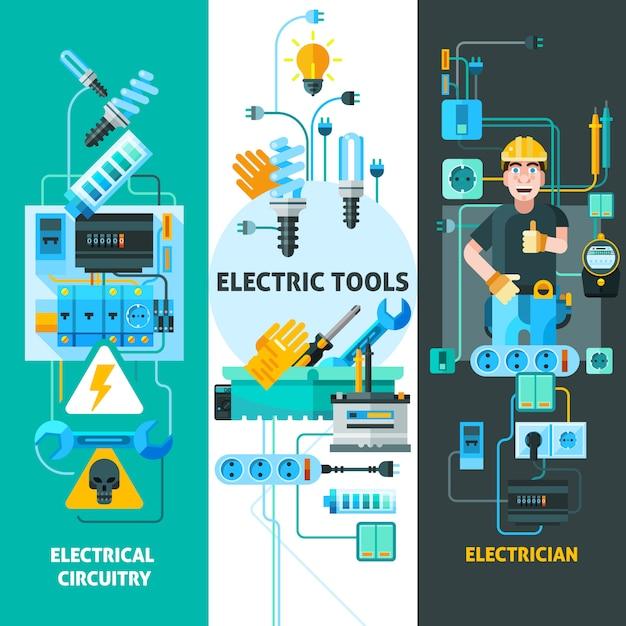 Elektriciteit elementen set Gratis Vector
