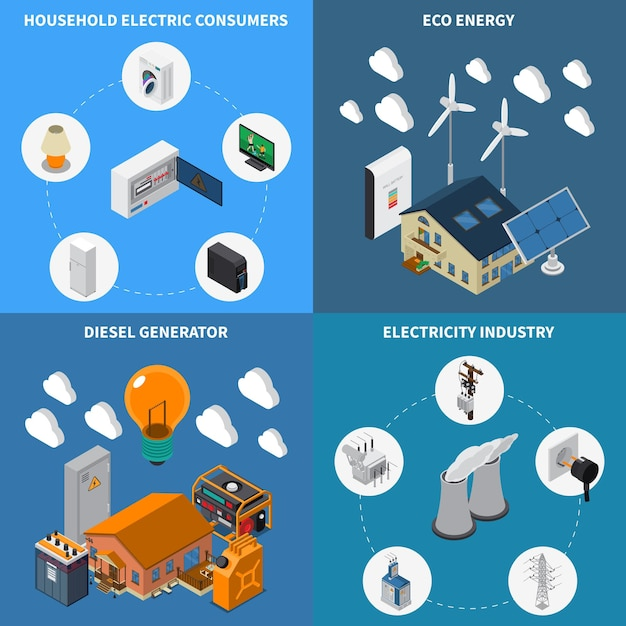 Elektriciteit huishoudelijke consumptie leveren eco-energie en diesel power industriële generatoren concept 4 isometrische composities Gratis Vector