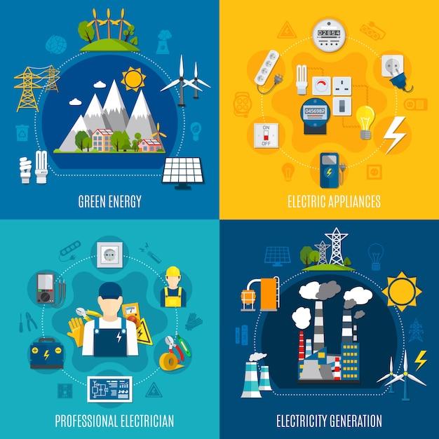 Elektriciteit platte composities Gratis Vector