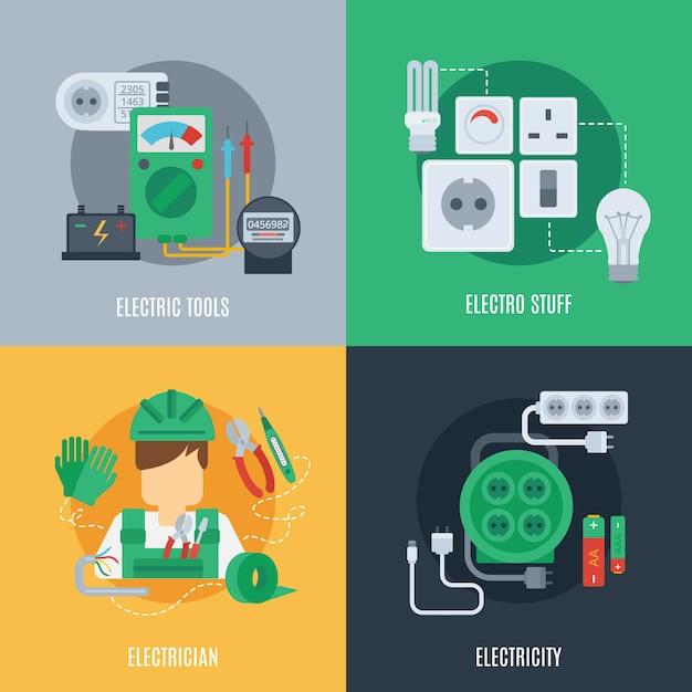 Elektriciteit platte pictogrammen Gratis Vector