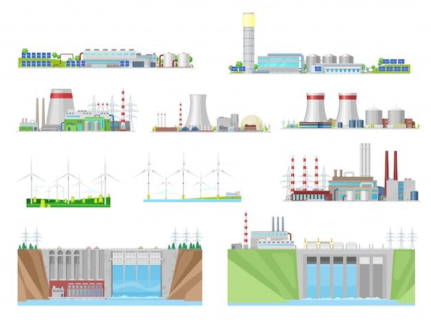 Elektriciteitscentrales en energiecentrales bouwen iconen van kernenergie, kolen, waterkracht, wind- en thermische energie, elektriciteitsindustrie. eco-windturbines, waterdammen, nucleaire en kolencentrales Premium Vector