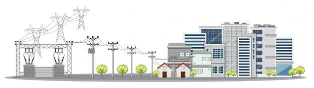 Elektriciteitspolen en gebouwen in stad Gratis Vector
