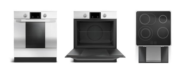 Elektrisch fornuis, inductiekookplaat met ovenfront en bovenaanzicht. vector realistische set keukenfornuis met gesloten en open ovendeur, zwarte keramische kookplaat geïsoleerd op een witte achtergrond Gratis Vector