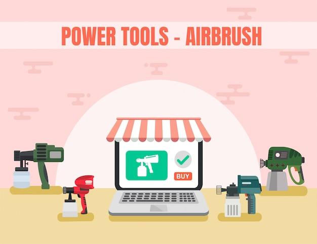 Elektrisch gereedschap online winkel airbrush vector Premium Vector