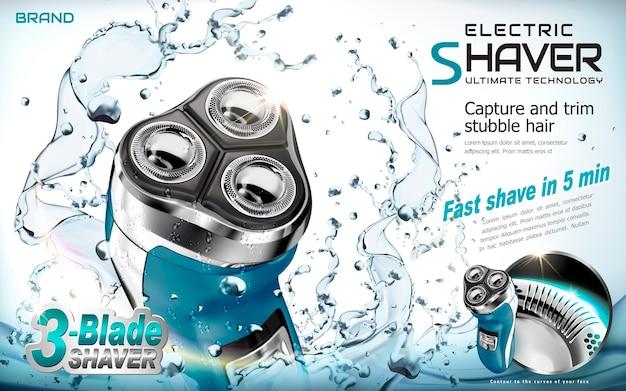Elektrisch scheerapparaat advertenties illustratie Premium Vector