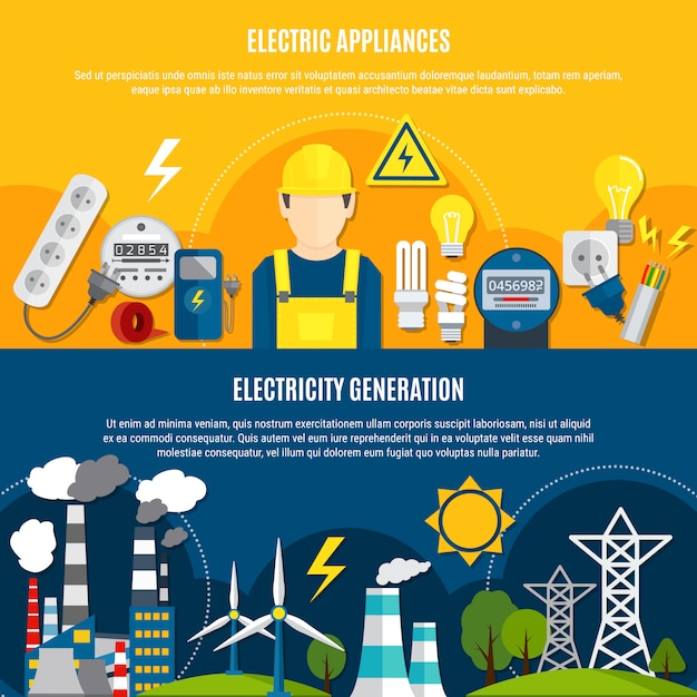 Elektrische apparaten en stroomopwekkingsbanners Gratis Vector