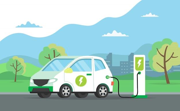 Elektrische auto die zijn batterij laadt met natuurlijk landschap, conceptenillustratie voor milieu Premium Vector