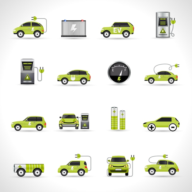 Elektrische auto iconen Gratis Vector