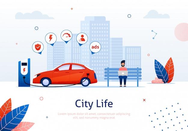 Elektrische auto in bijvullen op e-station, eco vehicle. Premium Vector