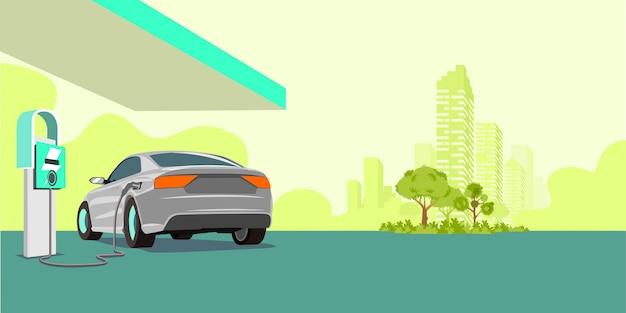 Elektrische auto opladen bij het laadstation Premium Vector