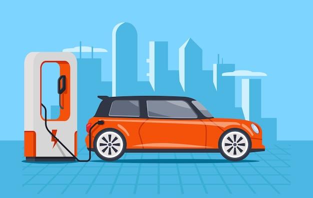 Elektrische Auto Opladen Op Elektrische Tankstation Vector