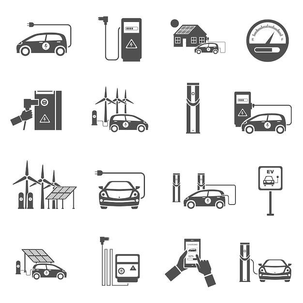 Elektrische auto opladen zwarte pictogrammen instellen Premium Vector