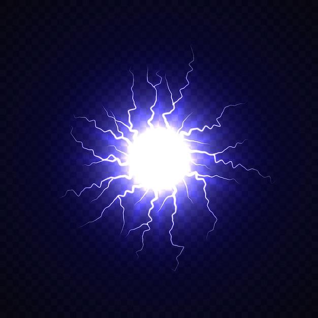 Elektrische bal met bliksemeffect Premium Vector