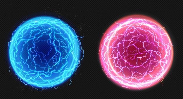 Elektrische ballen, blikseminslag, plasma Gratis Vector