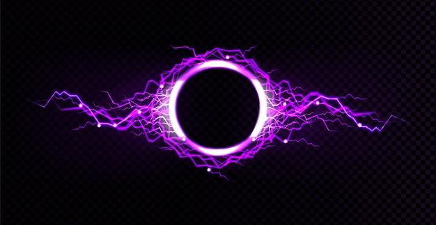 Elektrische bliksemcirkel met paars gloedeffect Gratis Vector