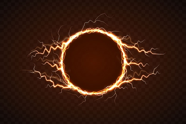 Elektrische cirkel met bliksemeffect Premium Vector