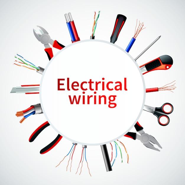 Elektrische kabels realistisch frame Gratis Vector