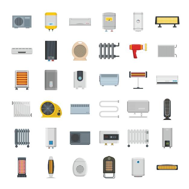 Elektrische kachel apparaat pictogrammen instellen Premium Vector