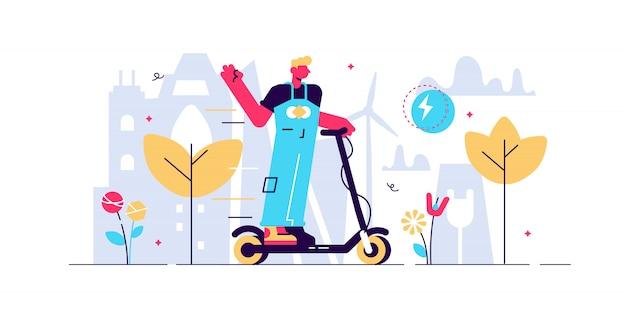 Elektrische scooter illustratie. klein elektrisch vervoer persoon concept. gadgetuitrusting voor buiten voor alternatief of milieuvriendelijk verkeer. actieve, stedelijke of innovatieve levensstijl Premium Vector