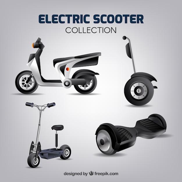 Elektrische scooters met realistische stijl Gratis Vector