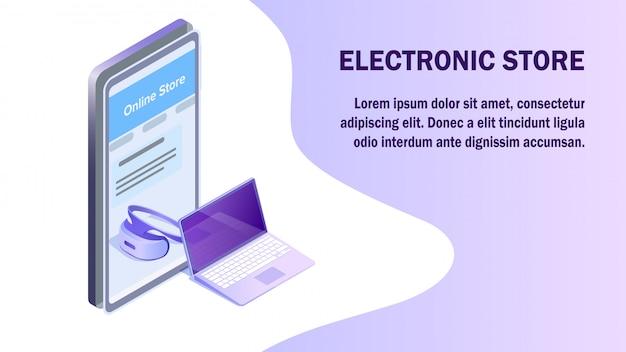 Elektronica supermarkt isometrische sjabloon voor spandoek Premium Vector