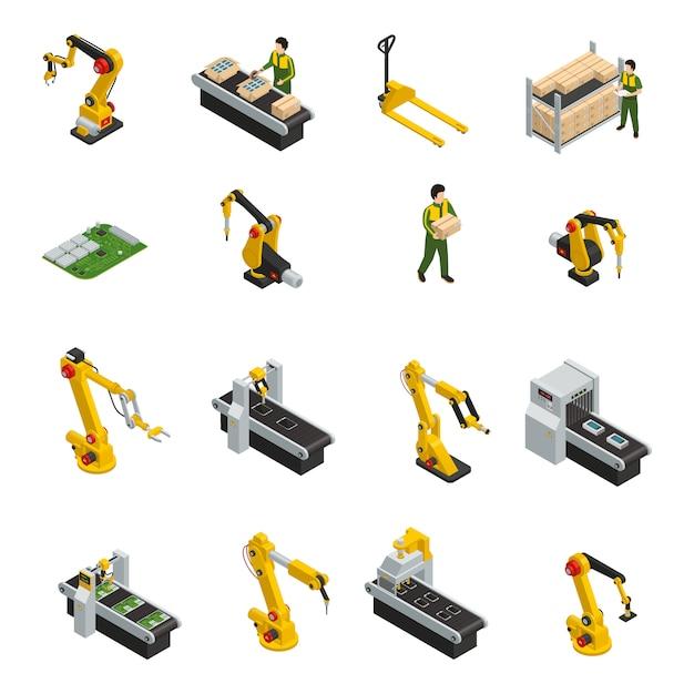 Elektronika fabrieks isometrische elementen met robotachtige machines en transportband van versieproduct Gratis Vector