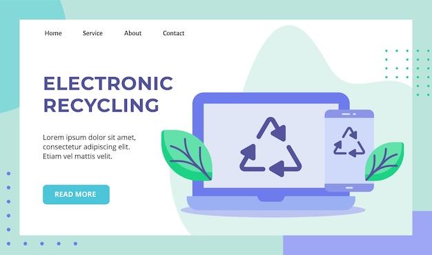 Elektronisch recycling groen blad recycle pictogram op het schermcampagne van de beeldschermlaptop smartphone Premium Vector