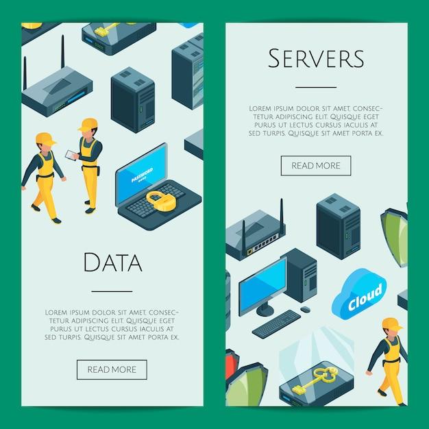 Elektronisch systeem van datacenter pictogrammen web banner sjablonen illustratie Premium Vector